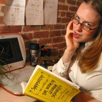 Laptop Glasses - Glasses, Lesbian , Laptop Glasses, Sappho Book, Librarian Chick, Pinky In Mouth Lesbian, Lesbian Librarian, Straight Hair, Tied Up Shirt
