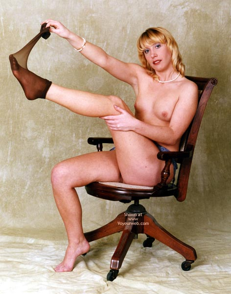 Nylons , Nylons, Posed Nude On Chair, Lemon Tits