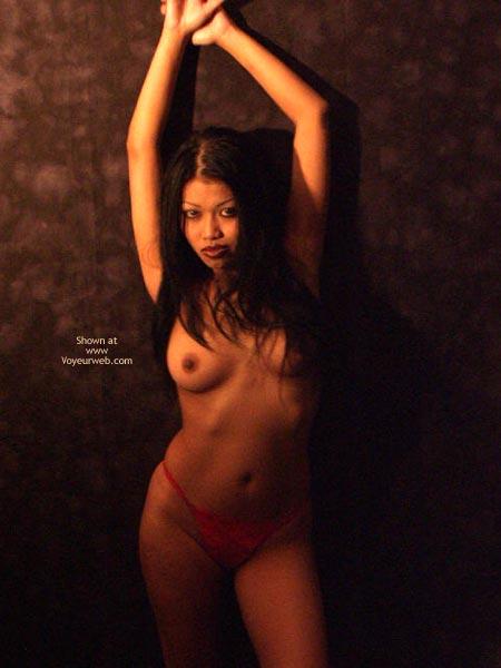 Topless Girl Standing - Full Frontal Nudity, Long Hair, Sexy Panties , Topless Girl Standing, Red Panties, Long Black Hair, Frontal Shot, Sensual Goddess