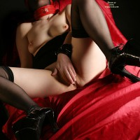 Fetish Shoes - Long Legs, Spread Legs, Stockings, Sexy Shoes , Thick Red Collar, Radical Fetish Heels, Fetish, Platform Shoes, Long Erect Nipples, Red Choker, Covering Her Pussy, Long Nipples
