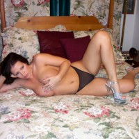 Girl On Bed - Big Tits, Thong, Sexy Shoes , Girl On Bed, Stripper Shoes, Black Thong, Seethrough Panty, Covering Her Big Boobs