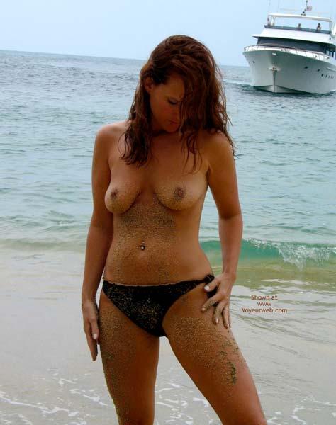Sandy Nipples - Navel Piercing, Nipples, Nude Beach , Sandy Nipples, Nude On Beach, Black Bikini Bottum, Sandy Body, Pierced Navel, Black Bikini Bottom