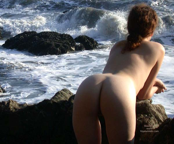 Bent Over - Bend Over , Bent Over, Naked Redhead By Ocean, Leaning Against Rocks, Bare Ass Leaning Forward