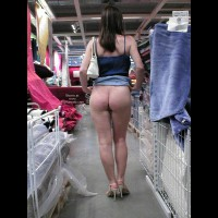 Skirt Lifting - Nude In Public , Skirt Lifting, Bottomless Shopping, Bottomless In Public, Flashing Ass In Store, Pulling Skirt Up In Public, Blue Cami, Jean Skirt