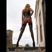Rear Shot Of A Standing Girl - Rear View, Stockings , Rear Shot Of A Standing Girl, Pvc Corsage, Very Long Legs, Black Stockings, Rear Shot, Very High Heels