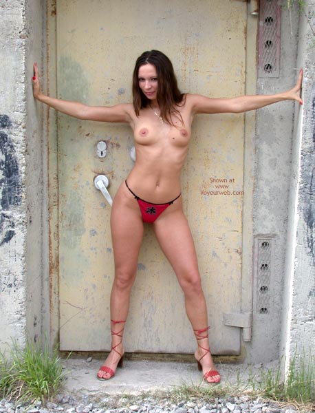 Red Panties - Medium Breasts, Nude In Public, Nude Outdoors, Sandals, Sultry Look, Thong, Topless Outdoors, Sexy Panties , Red Panties, Nude Outdoors, Medium Breasts, Red Thong, Nude On Public Street, Topless Outdoors, Sultry Look, Roman Sandals