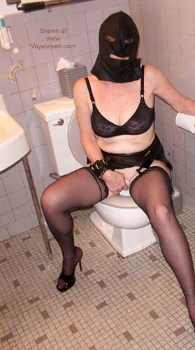 Pic #1 Collared Slave Evelyn Using The Commode