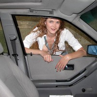 Flashing In Public - Cleavage, Flashing, Green Eyes, Nude In Car , Flashing In Public, Cleavage, Tits And Cars, Grey Skirt  White Blouse And Striped Tie