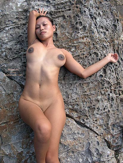 Big Breasted Girl Exposed Outdoors - Asian Girl, Dark Nipples , Big Breasted Girl Exposed Outdoors, Large Dark Nipples, Nude On A Rock, Asian, Deep Brown Large Button Aerolas, Asian Tits, Dark Nipples