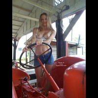 Topless Farm Life , Topless Farm Life, White Bra Pulled Down, Short Jeans, Seminude At A Farm, Nude Breasts, Farm Work