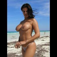 Topless Girl - Black Hair, Standing, Topless Girl, Beach Voyeur , Topless Girl, Beach Scene, Black Hair, Standing, White String Bikini, Hard Nipples, Navel Adornment