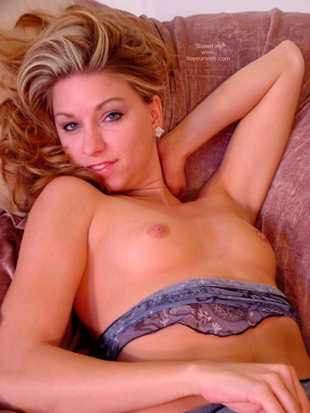 Small Breast - Perky Tits, Small Breasts , Small Breast, Blue Lingerie, Sofa, Smiling Topless Blonde With Head Turned, Blue Eyed Blonde, Pretty Face, Perky Tits