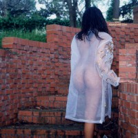 See Thru Outside - Long Hair, Nude Outdoors , See Thru Outside, Long Black Hair, See Thru Coat, Back View