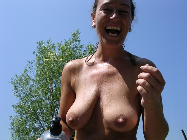 Laughing - Erect Nipples , Laughing, Erected Nipples, Wet Boobs, Happy Model, Gravity Boobs, Huge Dark Nipples, Huge Areolas, Erected
