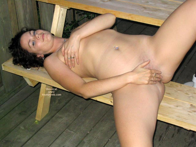 Tit Holding - Navel Piercing, Titties , Tit Holding, Nude Reclining On Bench, Belly Ring, Hand Covered Boobies, Full Body