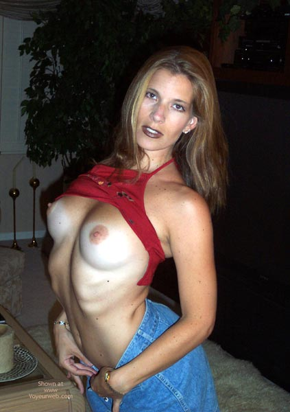 Tan Lines - Flashing, Jeans, Tan Lines, Topless , Tan Lines, Topless, Tanlines, Flashing, Gothic, Blue Jeans, Red Top