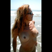 Naked Girl At The Sea - Red Hair, Beach Voyeur , Naked Girl At The Sea, Beach Scene, Red Hair, Eyeglasses, Pointy Nipples, Redhead In The Ocean, Posing By Ocean