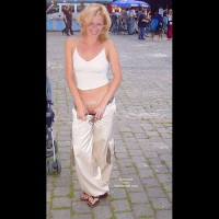 Exposed Pussy In Publie - Sandals, Sexy Panties , Exposed Pussy In Publie, Blonde In Thong Sandals, White Top And Pants, Public Panty Pulldown