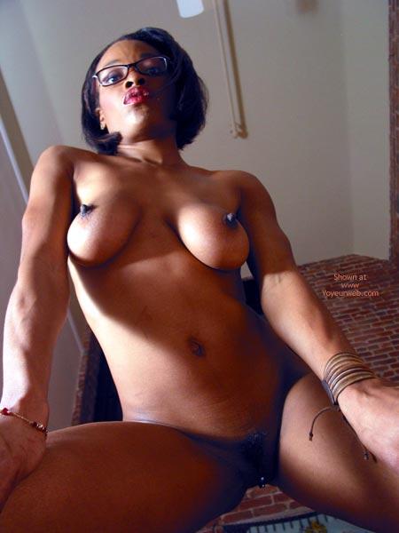 Clit Ring - Dark Nipples, Erect Nipples, Glasses , Clit Ring, Erect Nipples, Glasses, Shot From Beneath, Dark Nipples, Black Frame Glasses