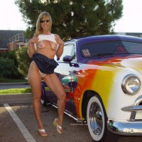 Flashing Boobs - Flashing Tits, Milf, Nude In Public , Flashing Boobs, In Public, Milf, Classic Car, Flashing Tits, Posing At Car Show