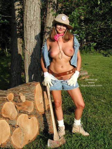 Pic #1 Natalie Splits Wood