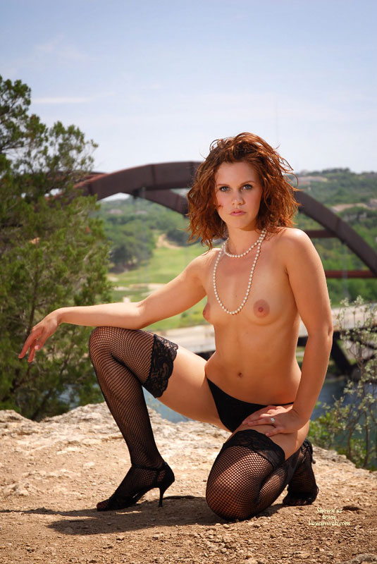 Redhead On Her Knees Topless Outside - Brunette Hair, Heels, Red Hair, Stockings, Topless , Black Panty, Perky Lips, Pearl Necklace, Large Puffy Aerolas, Fishnet Stockings, Petite Breasts, Bridge In Background, Kneeled Brunette, Classy Pose Oudoors, Fishnet & Heels, Black G String, Topless Outdoor Kneeling On One Knee, White Pearls And Black Panties, Black Fishnet Stockings, Red Hair And Green Eyes Topless, Outdoor Lingerie, Backlit By Sunlight