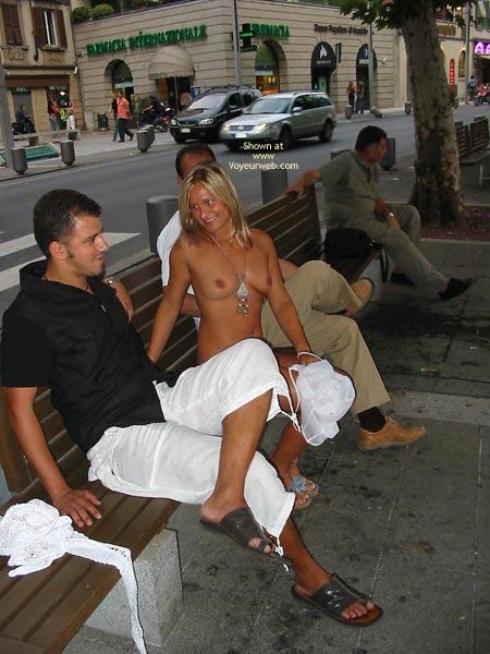Naked Girl In Public , Naked Girl In Public, Exhibitionist Girl, Naked On A Park Bench