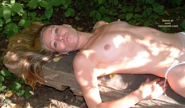 Lying On Tree - Long Hair , Lying On Tree, Topless In Forest, Long Blonde Hair, Huge Nips, Hair Fanned Out, Blowing A Kiss, Long Nipples