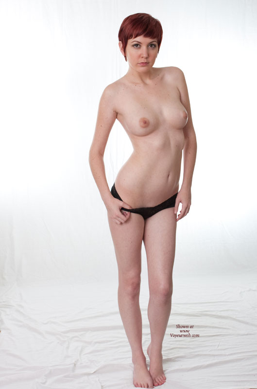 Sexy Wife Posing Standing Black Panties Only And Bare Feet - Red Hair, Topless , White Background Topless, Arms At Side, Short Red Hair, Left Knee Slightly Bend, Thin Body, Bare Legs Standing On Bare Feet, Short Hair, Tippy Toes, Medium Round Breasts, Puffy Nipples, Serious Look, Topless Indoor Frontal View, White Background