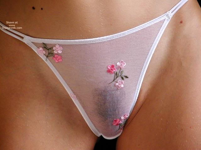 Closeup Of Panty Area - Thong , Closeup Of Panty Area, White Thong, Seethrough Panty, Bush Under Panty, Flowered Camel Toe