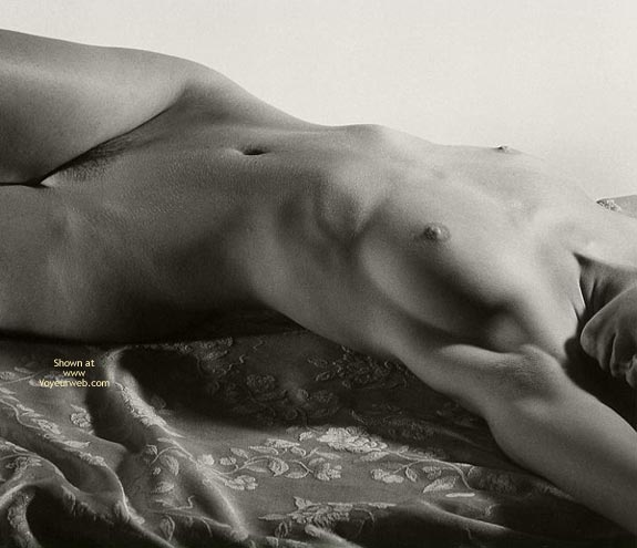 In Bed Picture - Arched Back, Lying Down , In Bed Picture, Black And White Picture, Glamour Photo, Lying On Bed, Arched Back
