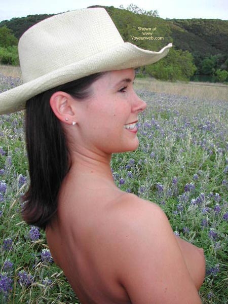 Outside - Nude Outdoors , Outside, Topless Cowgirl, Naked In A Field Of Flowers, Lavender Boobs, Field Tits, Cowgirl Nipple Profile, Sideboob Heaven