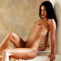 Small Dark Nipples - Black Hair, Dark Nipples , Small Dark Nipples, Black Hair, Nude Girl Sitting, Very Tiny Tits, Nude Brunette Sitting Against Column