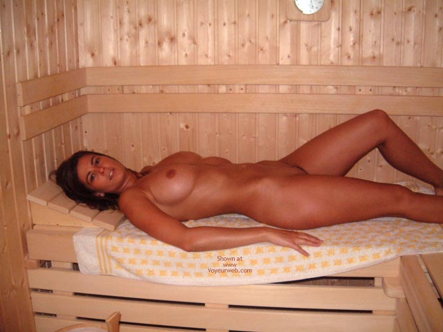 In A Sauna , In A Sauna, Lying On A White Towel, Looking To The Camera, Hot Ta Tas, Reclined