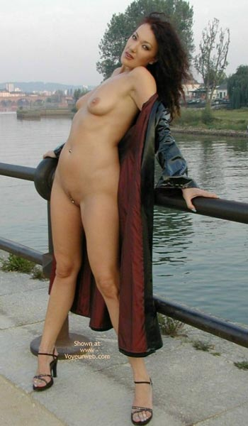 Public Frontal Brunette - Brunette Hair , Public Frontal Brunette, Pierced Clit, Small Firm Breast