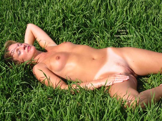 Tan Lines - Lying Down, Tan Lines , Tan Lines, Lying Down, Grass Field, In The Yard, Tanning In The Grass, Pointed Nipples, Sunlit Boobs