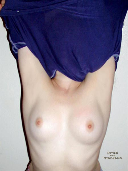 Undressing - Pink Nipples, Undressing , Undressing, Tit Shot, Blue Top, Shirt Off, Milky White Breasts, Small Round Pink Nipples