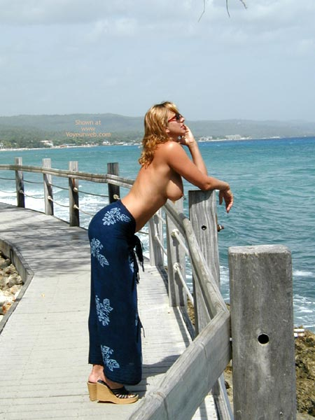 Boob Profile , Boob Profile, Topless Blond On Pier, Round Breast On Walkway, Flowered Blue Swim Cover-up, Wedge Sandals