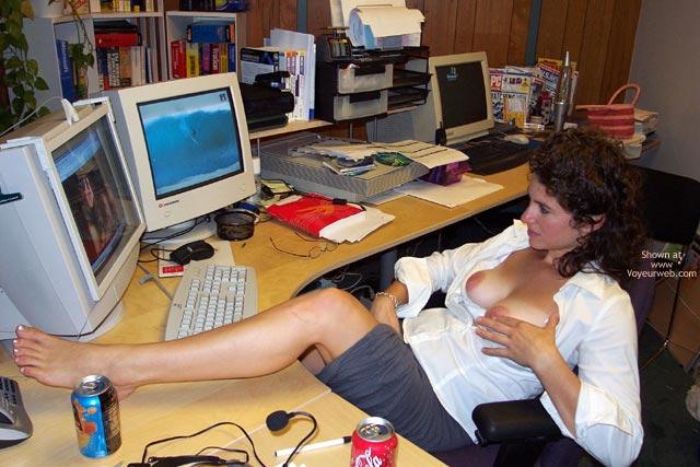 Topless At Computer - Brown Hair, Curly Hair , Topless At Computer, Watching Porn, Naked Feet, Huge Aerolas, Medium Sized Breasts, Exposeing Tits At Work, Brown Hair, Curly Hair