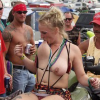 Biker Rodeo Chick Swallows Her Nipples!