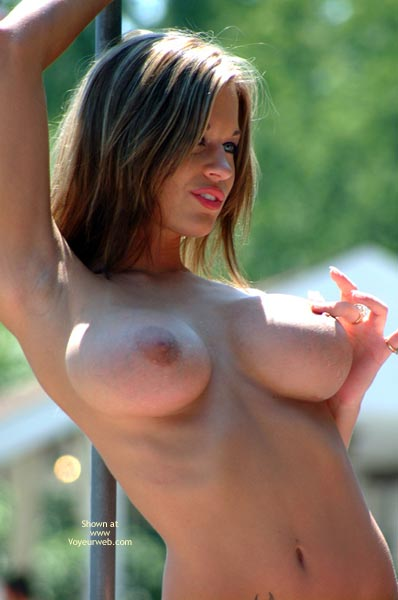 Playing With Nipple - Big Tits, Large Breasts, Tattoo , Playing With Nipple, Tattoo, Perky Big Tits, One Arm Up, Firm Breasts, Sun On Hair, Fingering Nipple