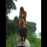 Outdoors - Nude Outdoors , Outdoors, Naked In The Rain, Wet And Wild, Combat Boots And Large Breasts
