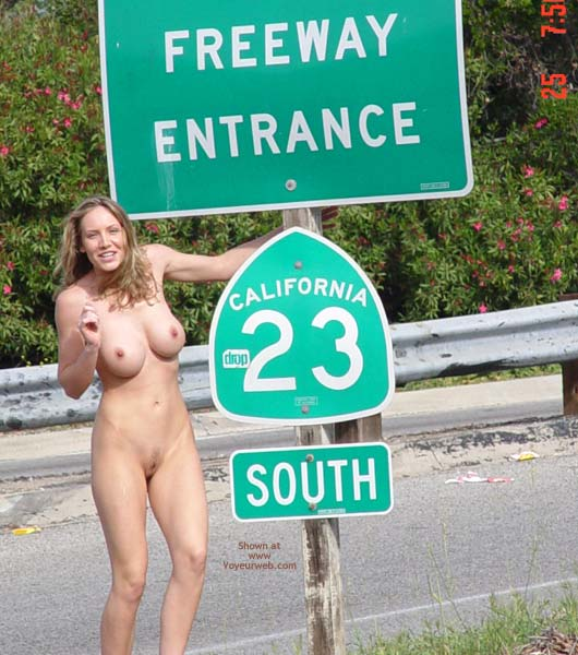 Blond - Blonde Hair, Large Breasts, Nude Outdoors , Blond, Outside On Freeway, California, Californian Outdoor Nude, Freeway Sign Pose, Large Breasts, On Road