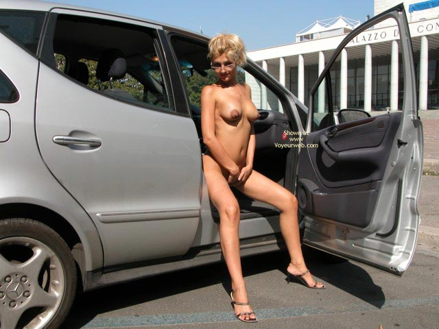 Sitting Naked Outside - Nude In Car, Sandals , Sitting Naked Outside, In A Car, Sandals, Blonde With Glasses