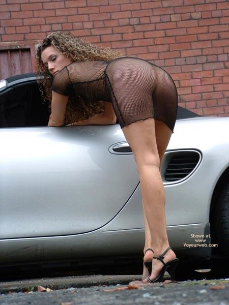 Girl Bending Over A Car - Bend Over, Heels, Rear View , Girl Bending Over A Car, Porsche Boxster, Seethrough Dress, Sexy Dress, Black High Heels, Rear Shot, Bend Over