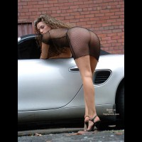 Girl Bending Over A Car - Bend Over, Heels, Rear View , Girl Bending Over A Car, Porsche Boxster, Seethrough Dress, Sexy Dress, Black High Heels, Rear Shot, Bend Over
