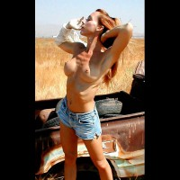 Short Jeans - Busty, Long Hair, Topless , Short Jeans, Topless, Long Red Hair, Nude In Field, Thin Yet Busty, Round Breasts