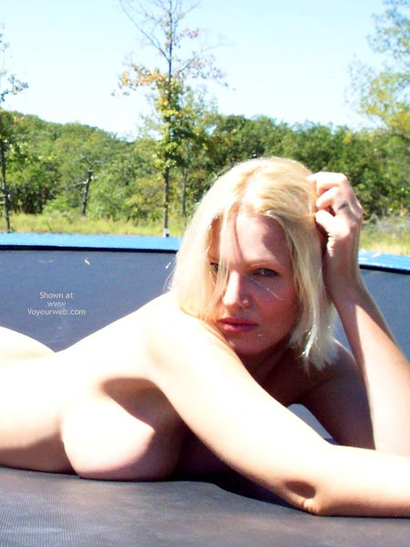 Blond On Trampolin - Big Tits, Blonde Hair, Cleavage, Nude Outdoors , Blond On Trampolin, Big Breasts, Blonde, The Look, Outdoors, Side Cleavage, Side Boob, Pressed Flesh, Full Lips