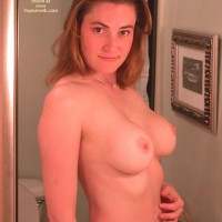 Topless Girl Looking Into Mirror - Brunette Hair, Huge Tits , Topless Girl Looking Into Mirror, Brunette Hair, Huge Tits, Large Round Titties
