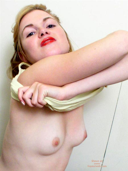 Girl Undressing Her Top - Red Lips , Girl Undressing Her Top, Small Firm Tits, Red Lips, Red Lipstick, Tiny Titts